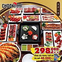 Chooki Buffet Hotpot & BBQ Buffet 90 Món Nướng & Lẩu Nhật Bản - Tặng Pepsi, 7Up Không Giới Hạn