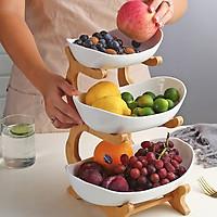 Khay đựng hoa quả 3 tầng  bằng sứ, khung tre có màu trắng và xanh cổ vịt - khay đựng hoa quả giá rẻ mẫu mới 2021