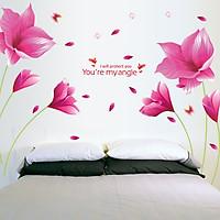 Decal dán tường Hoa cánh bướm hồng AmyShop DH067 - 2 bộ (153 x 215 cm)
