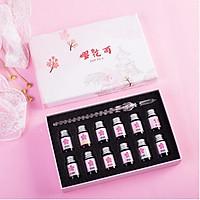 Hộp bút thủy tinh hoa đào tam sinh tam thế kèm mực dụng cụ học tiếng Trung thiết kế sáng tạo độc đáo tặng ảnh thiết kế vcone