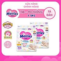 Combo 2 Tã/bỉm dán Merries size NB - 90 miếng (Cho bé dưới 5kg)