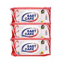 Combo 3 Gói Khăn Ướt Baby Care 80 Tờ - Hương Phấn Dịu Nhẹ, Tinh Chất Lô Hội Dưỡng Da