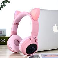 Tai Nghe Mèo Bluetooth Cao Cấp - Tai Nghe Không Dây Có Led Hỗ Trợ FM Thẻ Nhớ - Hàng Chính Hãng