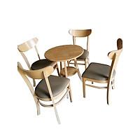 Bộ bàn tròn 4 ghế cabin mặt trăng xám