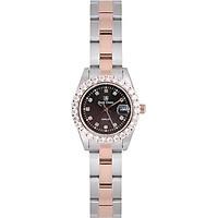 Đồng hồ nữ chính hãng Royal Crown 3662L dây thép vàng hồng mặt đen