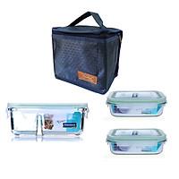 Bộ hộp cơm thủy tinh chịu lực Glasslock (2x400ml + 670ml chia ngăn) Kèm túi giữ nhiệt
