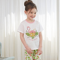 Bộ ngủ cộc tay cho bé Olomimi Hàn Quốc Flamingo SS20 - 100% cotton