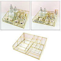 Luxury Glass Box Clear Glass Gold Tone Metal Jewelry Storage Case Cosmetic Makeup Lipstick Holder Organizer, 9 Compartments