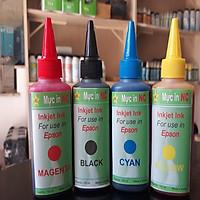Bộ 4 chai in phun cho Epson màu chuẩn, bảo vệ đầu phun. Là mực nước nạp, bơm cho máy in Inkjet Ink Epson gồm 4 màu: Xanh, đỏ, vàng, đen, mỗi màu 100ml, chính hãng NC