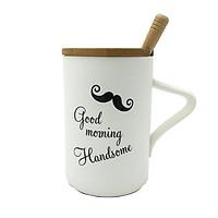 Ly Sứ Có Nắp Kèm Thìa MQY-1016-3 - Good Morning Handsome