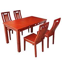 Bộ Bàn Ghế Ăn Mini Màu Nâu Đỏ Gỗ Tự Nhiên 1m3 4 Ghế