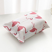 Túi vải đựng khăn giấy họa tiết hồng hạc 18x25cm