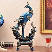 Decor Để Bàn - Linh Vật Phong Thủy - Tượng Chim Công Tài Lộc DCB003 Trang Trí Phòng Khách (34 x 58cm)
