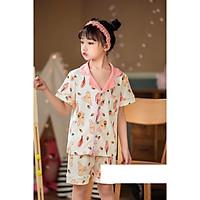 Bộ Pijama cộc tay hình thỏ dâu tây xuất Hàn bé gái 2-14 tuổi