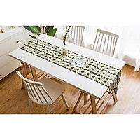 Khăn trải bàn table runner vải bố - Lá Bodhi - mẫu E04