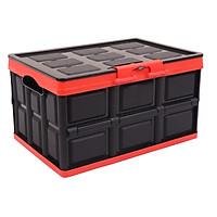 Hộp để đồ đa năng gấp gọn cốp sau ô tô dung tích 30 lít, Kích thước: Sâu x Rộng x Cao (42cm x 29cm x 24cm), Màu đen viền đỏ, KM309-30