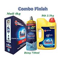 Combo rửa bát Finish: Muối hộp 4kg, Bột Classic can 2,5kg, Nước Làm bóng 750ml - Chính Hãng.