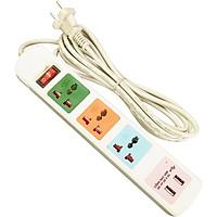 Ổ Cắm Điện HONJIANDA Loại 3 Ổ Và 2 Cổng USB - HJD-0544B-2U
