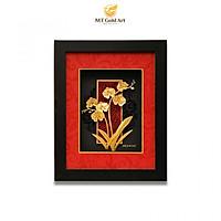 Tranh hoa lan dát vàng (27x34cm) MT Gold Art- Hàng chính hãng, trang trí nhà cửa, phòng làm việc, quà tặng sếp, đối tác, khách hàng, tân gia, khai trương