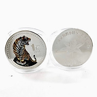 Xu in màu hình con Cọp bạc 1 Yi Trung Quốc, Trưng bày trong nhà, trên bàn sách, bàn làm việc, làm quà tặng độc lạ ý nghĩa, Kích thước 4cm, Màu bạc - TMT Collection - SP005328