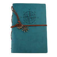 Leather Notebook Portable Loose Leaf Blank Notebook for Travel Black