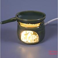 Đèn gốm bếp đơn xanh đồng bếp chảo Gốm Sứ Bát Tràng trang trí nội thất, đèn để bàn phòng ngủ hàng chính hãng.