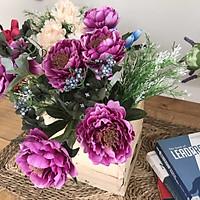 Bình Hoa Giả - Hoa Trà Nhị Đen - Thùng Gỗ - Hoa Vải Vintage - HOA038