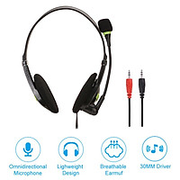 Lightweight 3.5mm Plug Wired Headphones With HD Microphone Office Home Working Gamer Headset