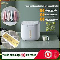 [ComBo] Thùng đựng gạo thông minh 10kg HT SYS -  ECOCO - E2005, thiết kế dạng nhấn nút, chất liệu ABS cao cấp + 01 Vỉ móc Vàng Tài Lộc + 04 Khăn lau siêu thấm