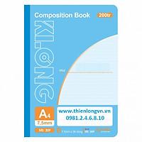 Sổ may dán gáy A4 - 200 trang; Klong 309 bìa xanh