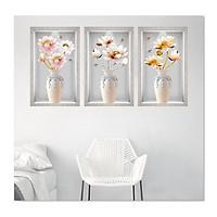Decal dán tường bộ 3 ô tường bình hoa đẹp Bo3BinhHienDai_003