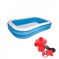 Bể phao bơi cao cấp cho gia đình  2.9m không hộp (290x170x60 cm), TẶNG KÈM Bơm điện 2 chiều thổi hơi hút chân không Wenbo (Đỏ)