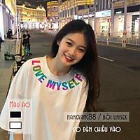 Áo Thun Tay Lỡ,áo phông nam nữ in Phản Quang 7 Màu Love Myself - Đen, Trắng TL123 Setstore