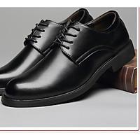 Giày nam da bò thật dáng đốc cổ ngắn đế cao chất da mềm đế cao su đi êm