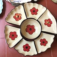 Bộ bát đĩa gốm sứ cao cấp hoa mặt trời họa tiết hoa đỏ cổ dùng gia đình, thắp hương, quà tân gia. . .