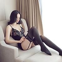 Đồ Ngủ Body Sexy Cosplay Thư Ký Gợi Cảm Vải Mịn Hai Dây Có Kèm Dây Kẹp Tất Và Tất Màu Đen Sexy Women Stockings Transparent Exposed Nipple Mesh Brave Man Mã BCS21 15 8022 12