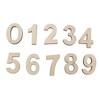 50x Wooden Arabic Numerals Shape 0-9 Numerics Numbers Ornaments Craft Decor