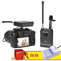 Micro Không Dây VHF Cho Máy Ảnh Boya BY-WFM12 Tặng Bộ Sạc Pin Doublepow DP-B02 Kèm 4 Pin Tiểu Sạc AA 1200mAh - Hàng Chính Hãng