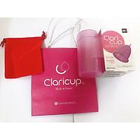 Cốc nguyệt san Claricup mầu hồng KÈM cốc tiệt trùng + 1 hộp tiệt trùng cốc + túi vải