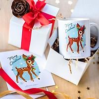 Cốc sứ  uống trà cà phê ịn  hình tuần lộc  - Cốc quà tặng Noel