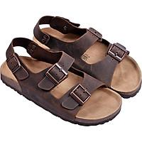 Giày Sandal Nữ 2 Khóa Da Bò Nâu Đế Trấu HuuCuong 2166