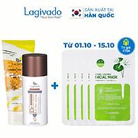 Bộ đôi serum dưỡng trắng da Hàn Quốc Lagivado Dr. Red Ginseng Lifting 30 ml và tẩy tế bào da chết Radiance Peeling 50 ml.