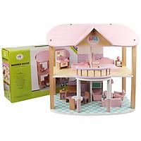 Đồ Chơi Gỗ Skids, Nhà búp bê 2 tầng màu hồng ngọt ngào - Đồ chơi cho bé gái đáng yêu và xinh xắn