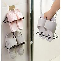 Móc treo dép , giá treo giày dép Tam Giác Sắt gắn tường tiện lợi gọn gàng, giá để dép treo tường tiết kiệm không gian GD279-MTDep-Sat