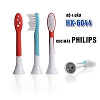Bộ 4 đầu bàn chải đánh răng điện P-HX-6044 cho máy Philips Sonicare HX3, HX6, HX7, HX8, HX9, R, FlexCare +, FlexCare, HealthyWhite, HydroClean, EasyClean, DiamondClean-Hết viêm nha chu, nướu lợi