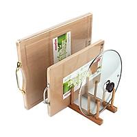 Giá kệ gỗ Tre mini đa năng úp đĩa thớt vung xoong tiện dụng - Loại 6 ô gỗ tự nhiên