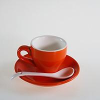 Bộ ly dĩa sứ tặng kèm muỗng chất liệu sứ cao cấp dung tích cho cà phê Espresso - Cappuccino - Latte nhiều màu sắc