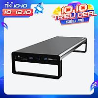 Chân đế màn hình nhôm Vaydeer USB 3.0 Đế kim loại Riser với cổng âm thanh 3,5 mm + Đầu đọc thẻ tích hợp TF + SD + USB 3.0