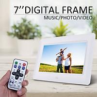 Đồng hồ kiêm khung ảnh thông minh 7 '' TFT LCD HD - Tự động Trình phát hình ảnh, nhạc / Điều khiển từ xa - Màu trắng