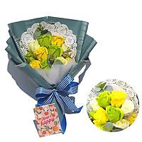 Bó Hoa Hồng Sáp 11 Bông Và Túi Giấy Sang Trọng Màu Vàng Xanh ( Tặng Kèm Thiệp Mini Ngẫu Nhiên)